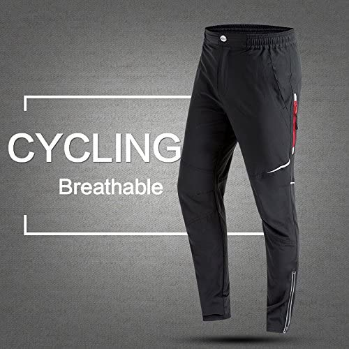 Cheeroyal Cycling Trousers,Breathable Mens Pants Wicking Bike Bicycle Fitness Training Practice Windproof Athletic Long Pants Flexible Running Trousers Black