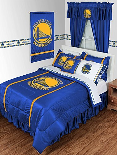 Golden State Warriors 5 PIECE TWIN BEDDING SET, BED IN A BAG (COMFORTER, FLAT SHEET, FITTED SHEET, 1 - PILLOW CASE, 1 - PILLOW SHAM by Dream Time Kids Bedding