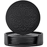 Drink Coasters,365park PU Leather Round Coasters Set of 6 with Holder for Glasses(Black-Round)