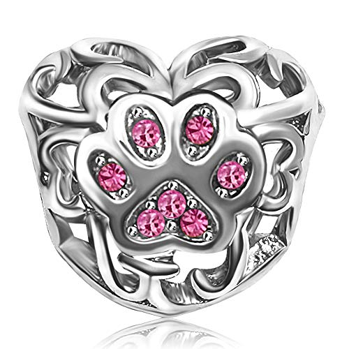 JMQJewelry Love Dog Mom Heart Pink October Charms Beads for Bracelets