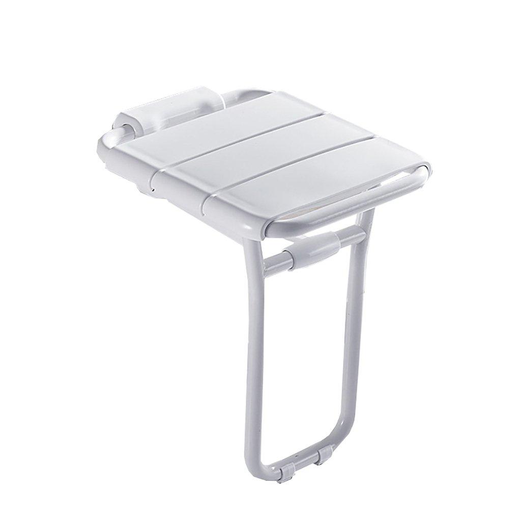 バスルーム折りたたみチェアウォールシートエントランスコリドーシューズトイレシャワーチェアウォールスツールウォールチェアオールドマン (色 : 白) B07DFFV5QB  白