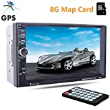 PolarLander 7''Inch 2 Din LCD Touch Screen Car Radio Player Support GPS Bluetooth Hands Free 1080P Movie Rear View Camera Car Audio Stereo Mp5 With 8G Map card