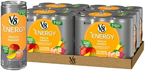 V8 +Energy Healthy Energy Drink, Natural Energy from Tea, Peach Mango, 8 Oz Can (4 Packs of 6, Total of 24)