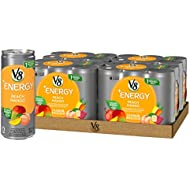 V8 +Energy, Juice Drink with Green Tea, Peach Mango, 8 oz. Can (4 packs of 6, Total of 24)