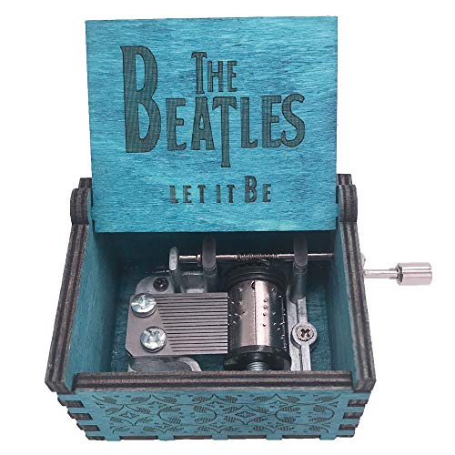 The Beatles Music Box Hand Crank Musical Box Carved Wood Musical Gifts,Play Let it Be,Blue (Carved Gifts Wood)