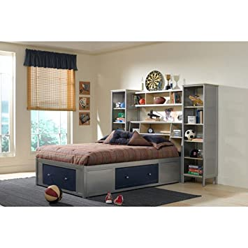 hillsdale universal youth wall storage bed in navy and silver full