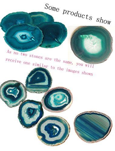 AMOYSTONE Teal Agate Coaster 3.5-4'' Dyed Sliced Genuine Brazilian Teal Agate Drink Coasters with Rubber Bumper Set of 4 by AMOYSTONE (Image #6)