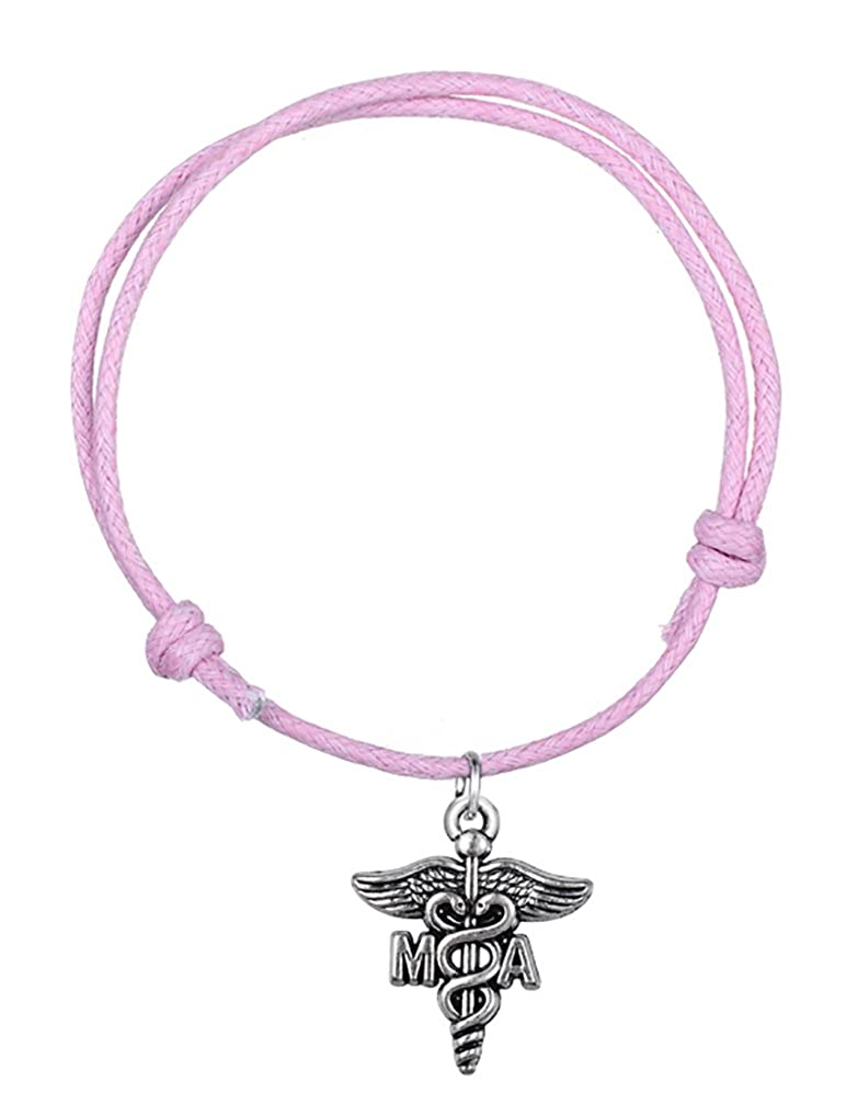 Fashion Wax Cord Bracelet with Medical Assistant MA Charms Caduceus Cuff Wristband Bangle/