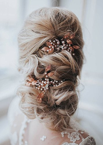 Missgrace Bridal Crystal Leaf Rose Gold Hair Pins Women Crystal Headpiece Wedding Rose Gold Leaf Hair Pins Clip Hair Jewelry Wedding Hair Accessories (Pack of 2) (Rose Gold)