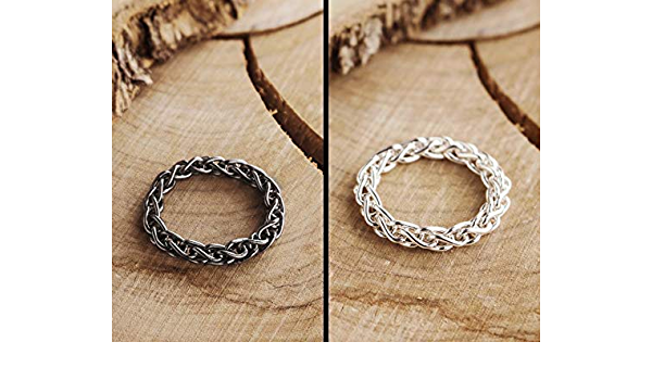 Flexible Silver Ring For Men 925 Sterling Silver Ring Black Silver Link Ring Oxidized Silver Solid Silver Chain Ring Thick Curb Chain
