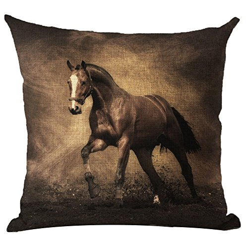 Monkeysell Horse Pattern Vintage Cotton Linen Square Throw Pillow Case Decorative Cushion Cover Pillowcase Cushion Case for Sofa,Bed,Chair 18 X 18 Inch (S030A9)