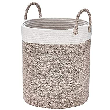 Woven Basket Rope Storage Baskets - Large Cotton Organizer 16  x 14  x 14 , Basket for Baby Blanket, Kids Toy Nursery Laundry Basket