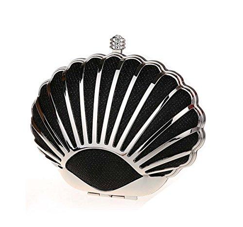 KAXIDY Einzigartige Schalenform Unterarmtasche Henkeltasche Schultertasche Damentasche Tasch Schwarz
