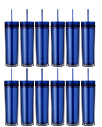 Double Wall Acrylic Tumbler - Set of 12 Double Wall Skinny Acrylic Tumblers 16 Oz, with Straws (Blue)