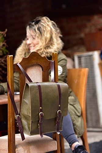 Green Leather Handmade Backpack by AnyLeatherDesigns