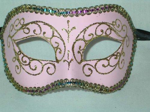 Colombina Venetian Halloween Mask Pink Multi Color Braid La Maschera del Galeone Masks]()