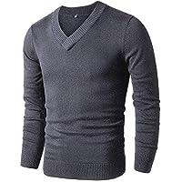 DENIMHOLIC Slim Fit V Neck Sweaters for Men | Lightweight Breathable Mens Sweater | Soft Fitted V-Neck Pullover for Men