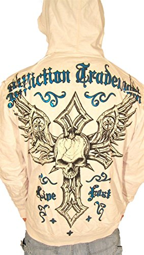 (Affliction Damma Mens Live Fast Zip up Hoodie Sweatshirt White)