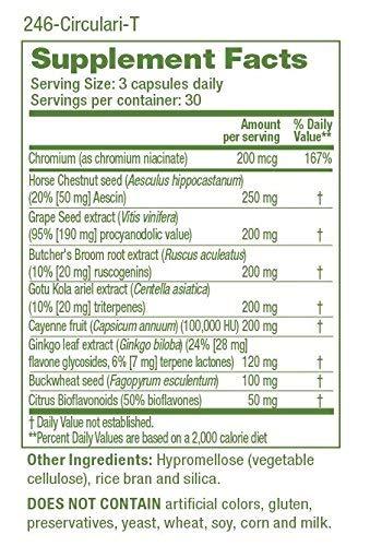 Circulari-T - Natural Blood Circulation Supplement - Aids Leg & Hand Veins Health - Restless Legs - Combination of Butcher's Broom, Ginkgo Biloba, Grape Seed Extract, Horse Chestnut (90 Capsules)