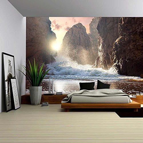 Fantastic Big Rocks and Ocean Waves at Sundown Time Dramatic Scene Beauty World Landscape