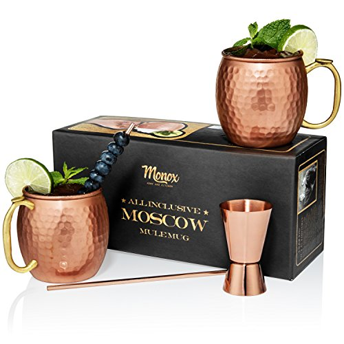 Moscow Mule Copper Mugs - Gift Set of 2-100% Hammered - Pure Solid Copper Tumblers - 16 oz - BONUS Premium Cocktail Straws & Jigger (Shot Glass) - Brass Thumb Rest - Gift Box Included