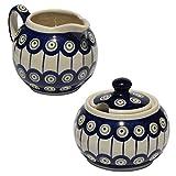 Polish Pottery Sugar Bowl and Creamer From Zaklady Ceramiczne Boleslawiec #694/711-8 Classic Pattern, Sugar Bowl: Height: 3.7'' Creamer: Height: 3.4''