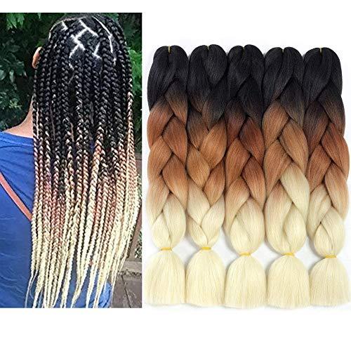 Ombre Kanekalon Jumbo Braiding Hair Pieces Crochet Box Braids Twist Hair Extensions 24Inch 5Pcs (3 Tone Black-dark brown-brow) 5Pcs