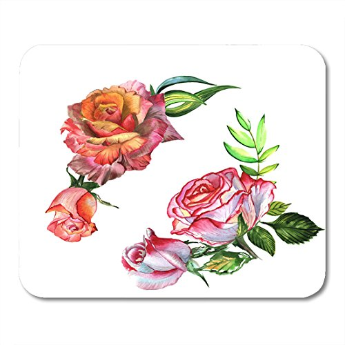 Boszina Mouse pad Red Wildflower Rose Flower in Watercolor Full Name of The Plant Hulthemia Rosa Aquarelle Wild for Orange Office Supplies mouses pad 9.5x7.9 inches (Full Color Floral Vignettes)