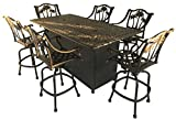 Propane Fire Pit Set 7 Piece 1 Double Burner Table 6 Palm Tree Patio Swivel Bar Stools Cast Aluminum Furniture.