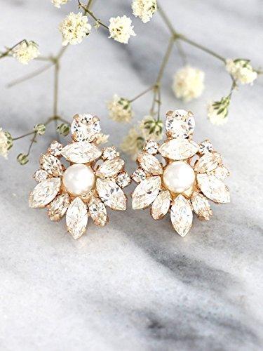 - Bridal Pearl and White Cluster Earrings, Swarovski Crystal Bridesmaids Stud Gold Earrings, Handmade Wedding Jewelry
