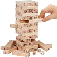 MysticPlay Jenga (Tumbling Tower) 54 Pcs Wooden Numbered Blocks with 4 dice