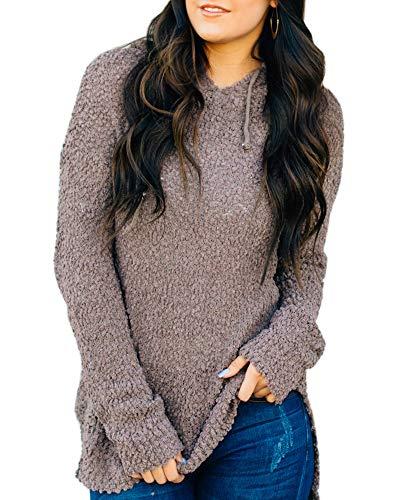 - Dellytop Womens Fleece Hooded Sweaters Fuzzy Long Sleeve Loose Hoodies Knit Sweatshirt