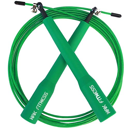 Speed Jump Rope with super-fast high-grade metal bearings, best for Boxing, MMA and endurance fitness training with this speed cable rope.