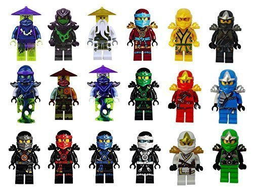 Threetush Ninjago Toys Minifigures Kids Set 18 Minifigures with Accessories & Building -