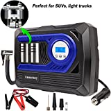 #6: 12V DC Air Compressor Pump, Digital Tire Inflator by 150psi, 12V Preset Pressure Tire Pump with Connect Clamps and 3 High-Air Flow Nozzles Perfect for Bicycle, Sport Balls and Other Inflatables