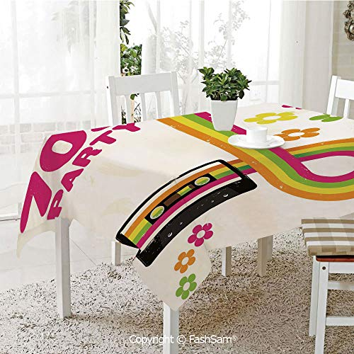 (FashSam 3D Print Table Cloths Cover Party Flyer Inspired Cute Curved Stripes Daisies Audio Cassette Tape Decorative Waterproof Stain Resistant Table Toppers(W60)