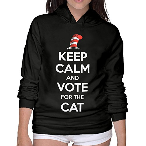 Keep Calm And Vote For The Cat Women's Hoodie XL Black