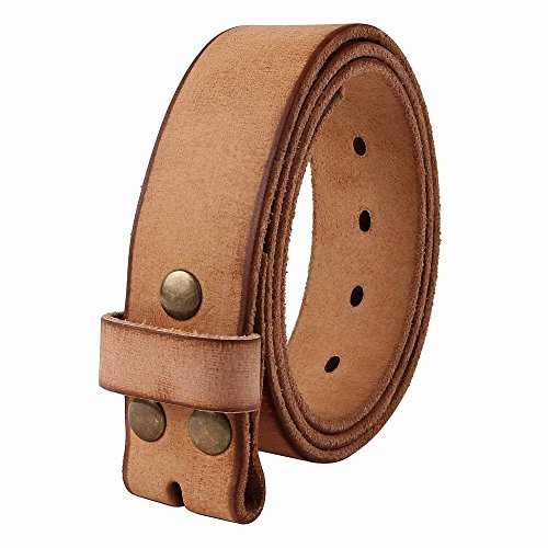 [NPET Mens Leather Belt Full Grain 100% Leather Vintage Distressed Style Snap on Strap 1 1/2