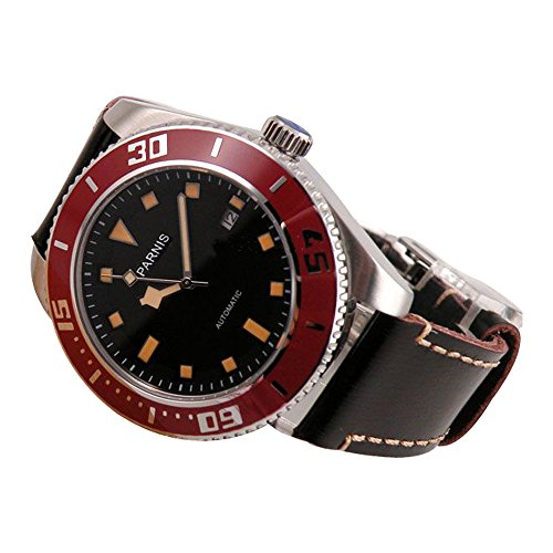 Whatswatch 43mm Parnis black dial sapphire glass 21 jewels miyota Automatic mens Watch PA-0105