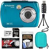 Polaroid iS048 Waterproof Digital Camera (Teal) with 16GB Card + Case + Mini Tripod + Kit
