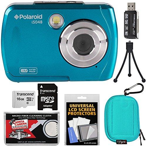 Polaroid iS048 Waterproof Digital Camera (Teal) with 16GB Card + Case + Mini Tripod + Kit by Polaroid