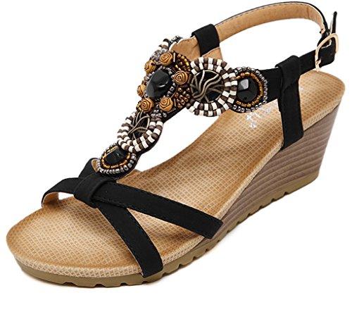 LIANGXIE ZHHZZ Buckle Sandals signora tinta Sandali Nero zeppa con Beaded New La unita Summer YxYq7rI