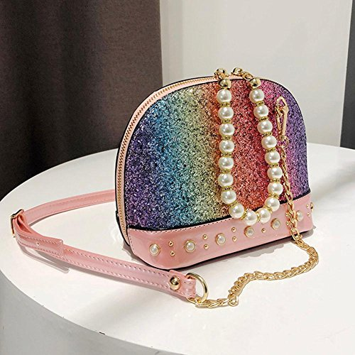 Pearls Femme Rose Crossbody Shining Chic Mini Sacs Shell Bandoulière Main Bag Demiawaking À Pour Sac Messenger Fille Clutch f5qwHWzzpR