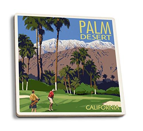 Lantern Press Palm Desert, California - Golfing Scene (Set of 4 Ceramic Coasters - Cork-Backed, Absorbent)