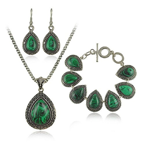 Luna Online Drop Costume (G&T Lady Retro Malachite Large Droplets Jewelry Sets Top grade Thailand Antique)