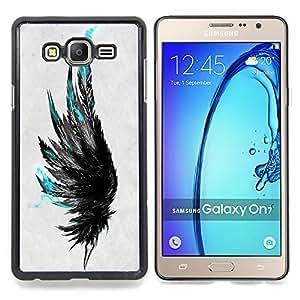 """Qstar Arte & diseño plástico duro Fundas Cover Cubre Hard Case Cover para Samsung Galaxy On7 O7 (Plumas azules"""")"""