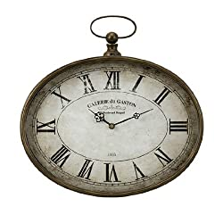 CC Home Furnishings 16 Distressed Antique-Style Oversized Pocket Watch Roman Numeral Wall Clock