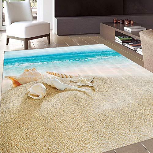 Rug,FloorMatRug,Ocean,AreaRug,Starfish Seascape Sea Beach Picture Print,Home mat,4'x6'Tan White,RubberNonSlip,Indoor/FrontDoor/KitchenandLivingRoom/BedroomMats