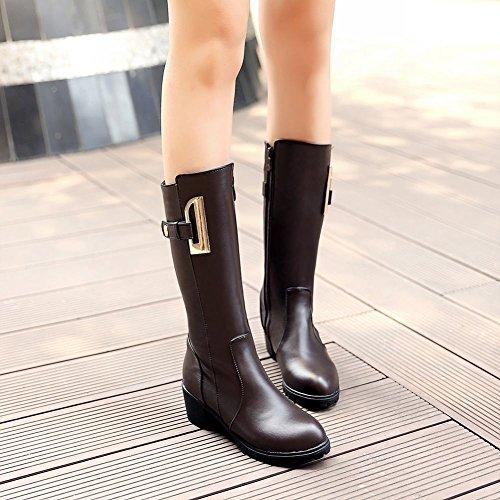 Latasa Mujeres Fashion Strap Zipper Chunky Mid-heel Platform Botas A Media Pierna Marrón