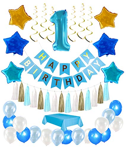 1st Birthday Boy Decorations kit- Complete One Year Party Decoration- First Birthday boy Giant Number One Balloon- Blue Happy Birthday Banner- Latex and Star Foil Balloons- Hanging Swirls-